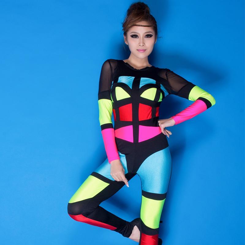 Estilo caliente del remiendo del listón de desgaste Mujeres 2019 Nueva Night Club Stretch Etapa danza DJ mamelucos fluorescente del traje del mono