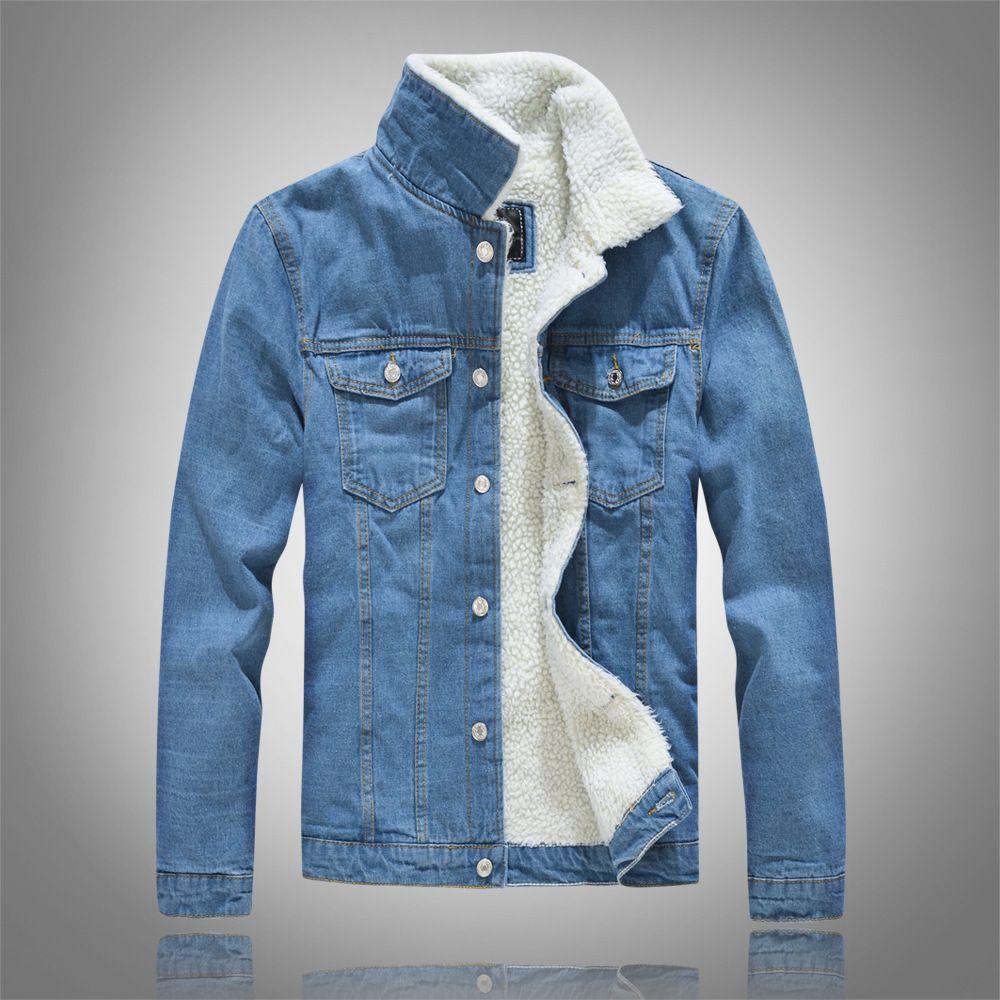 Winter Wool Warm Men Single Breasted Fleece Silm Denim Jackets Man Women Fur Collar Thick Denim Jeans Cowboy Coats