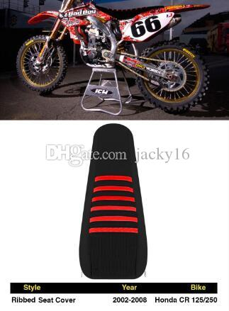2002-2008 HONDA CR 125 250 Black with Red Ribs RIBBED SEAT COVER wholesales dirt bike parts