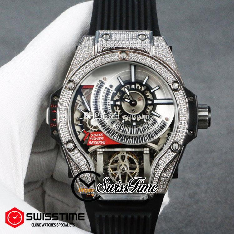 Sale New Miyota Automatic Tourbillon Mens Watch Steel Diamond Case Silver Skeleton Dial Black Rubber Strap 45mm Watches SwissTime HUBG68a1