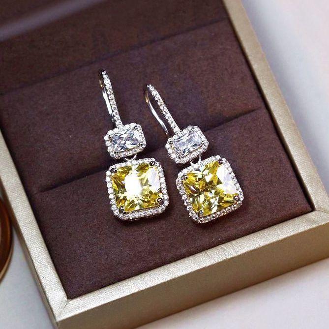 Fashion Elegant shinning Classic Square yellow Stone Cubic zirconia Drop Earrings Women Jewelry White Gold Color Female