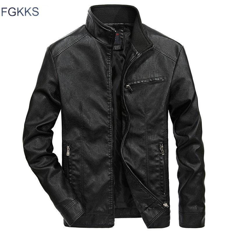 FGKKS 가을 겨울 가죽 자켓 남성 방풍 가죽 재킷 남성 푸 오토바이 패션 남성 재킷