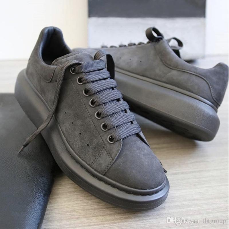 Designer sapatilha Homens Mulheres Plataforma Trainers 100% Leather Suede Oversized Sole sapatos de luxo Mens Trainers Big tamanho 35-46