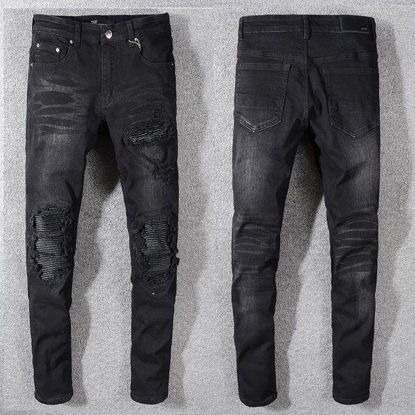 Calças de brim dos homens da moda Pista de Corrida Magro Racer Biker Jeans # 1161 Hiphop Skinny Men Denim Ripped Basculadores Calças Macho Rugas Jean Calças