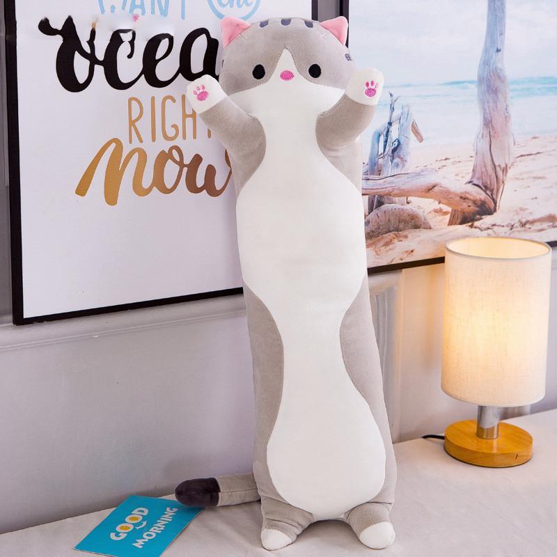 어린 소녀 귀여운 소프트 긴 고양이 베개 봉제 완구 인형 일시 정지 사무실 낮잠 베개 침대 수면 베개 홈 장식 선물 인형