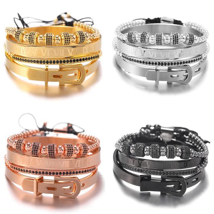 Roman Royal Crown Charm Bracelet Men Fashion 2020 New Gold Braided Adjustable Men Bracelet For Hip Hop Jewelry Gift