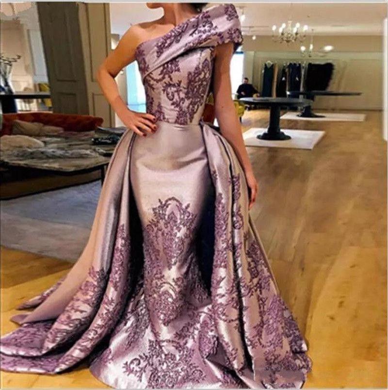 2020 Vintage One Shoulder Evening Dresses Light Purple Satin Appliques Mermaid Prom Gowns Summer Formal Girls Pageant Dress
