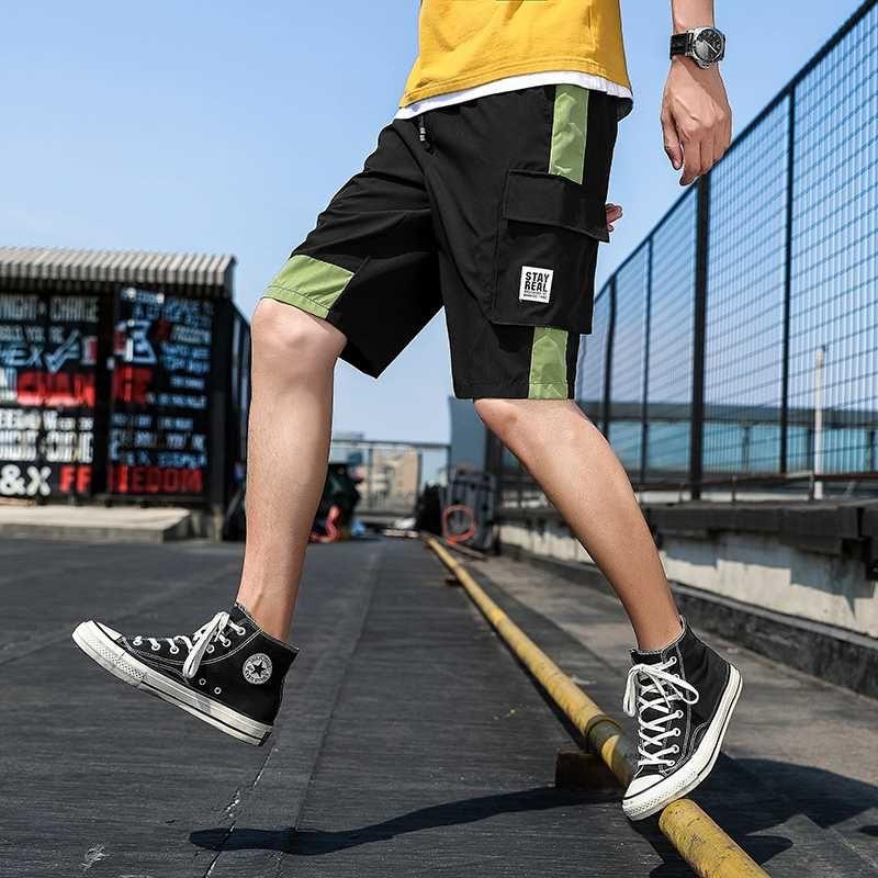 Estilo Verão coreano reta Slim Fit Casual Calças respirável Patchwork Contraste Cor Calças Curtas elástico na cintura Carga