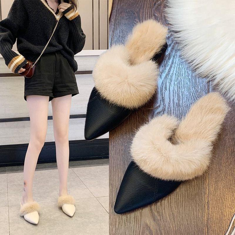 2019 Art und Weise Damen balck weißen koreanischen Winter spitzen Kaninchenhaar warme Kleidung Schuhe Hausschuhe mit 3,5 cm dicken Fersen Frauen Sättel