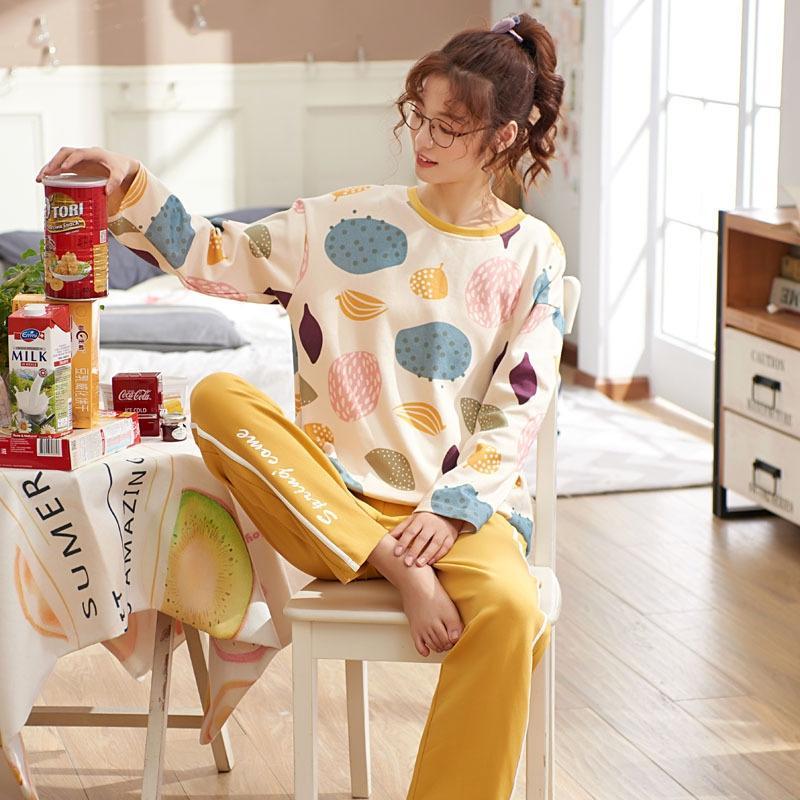 Tkhqw 4tyOm осень пара пижамы пижамы pajamaslong рукавами хлопок мужские и женские осенне-зимний корейски отдыха WEA костюм дома с