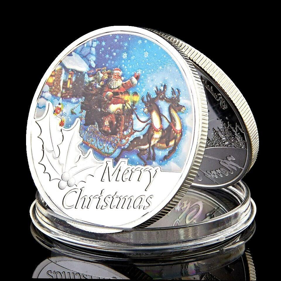 Merry Christmas Santa Claus Silver Plated Commemorative Challenge Coin Souvenirs Home Decoration Accessories