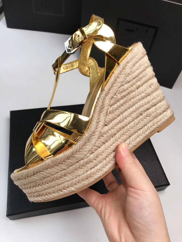 2019 donne di marca tacchi alti sandali wedhes in vera pelle donna sandalo piattaforma impermeabile croce di colore della caramella scarpe da sposa 35-41 scatola