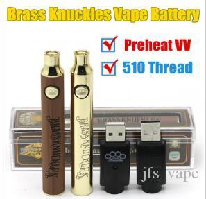 Hotsale Brass Knuckles 510 Thread Vape Pen Battery with USB Charger Kit 650 900 mAh Preheat Voltage Adjustable Oil Cartridge Batteries DHL