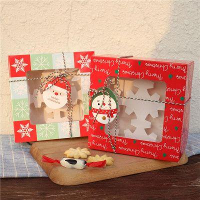 Weihnachtskuchen Box 4 Korn Glasverpackungskasten Kuchen Nougat Schokolade Geschenkverpackung Weihnachtsdekorationen für Haus XD22446