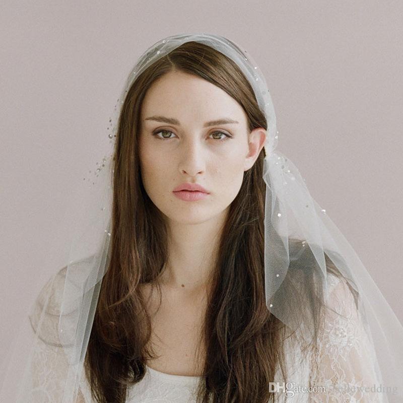 Twigs Yüksek Kaliteli Gelin Veils Kesim Kenar ile Parmak Uzunluğu Boncuk Bir Katmanlı Tül Beyaz Zarif Hotselling Düğün Gelin Veils # V016