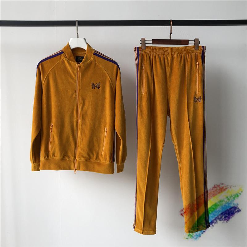 Giallo velluto Giacche Uomini Donne 1 ricamo di alta qualità Cappotti Giacche Pantaloni