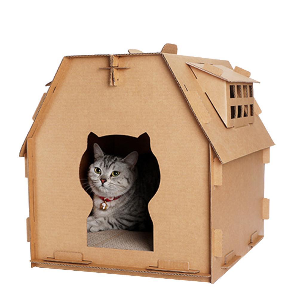 Kurul Malzemeleri Araçlar Kedi Evi Pet DIY Oyuncak Oluklu Kağıt Öz Montaj Mobilya Kapalı Kitten Karton kutu kaşı