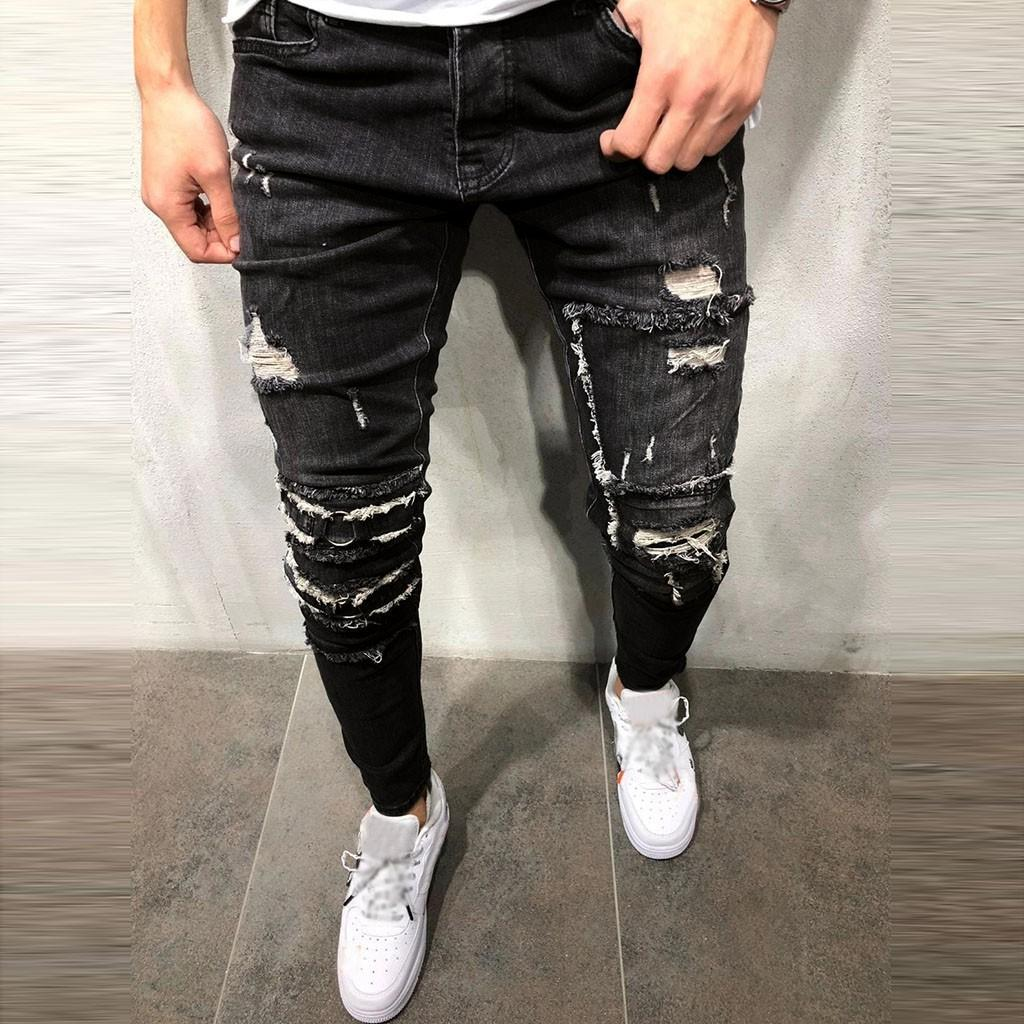 Men's Jeans 2019 Long Straight Leg Slim Fit Casual Hole Strech Denim Skinny Jeans Straight Ripped Trouser Distressed Pants