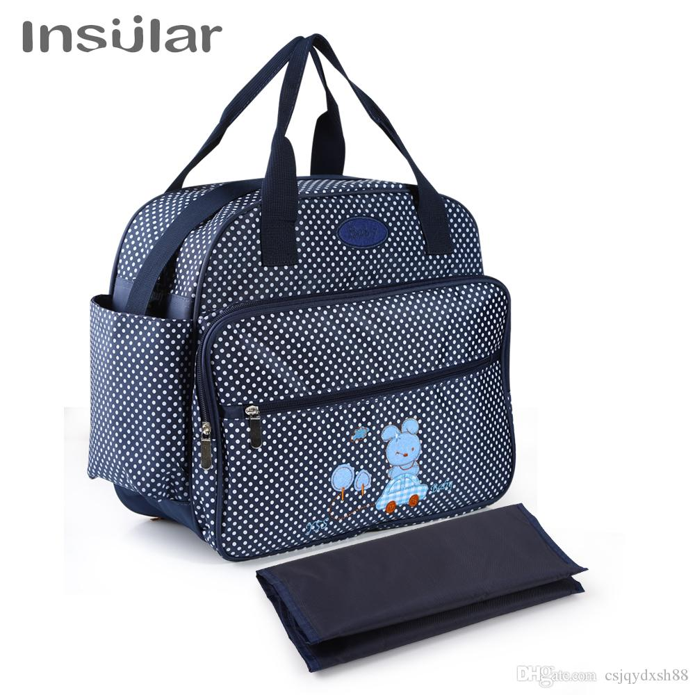 Mom Nappies Bags Waterproof Nylon Nursing Outdoor Travel Bags bolsa cartoon Polka Dot Fashionable Mommy Bag