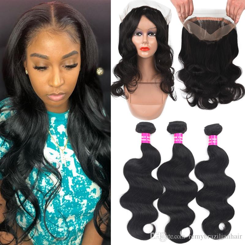 9A Brazilian Body Wave Human Hair With 360 Full Lace Closure Deep Water Wave Curly Loose Straight Body Human Hair With 360 Full Lace Closure