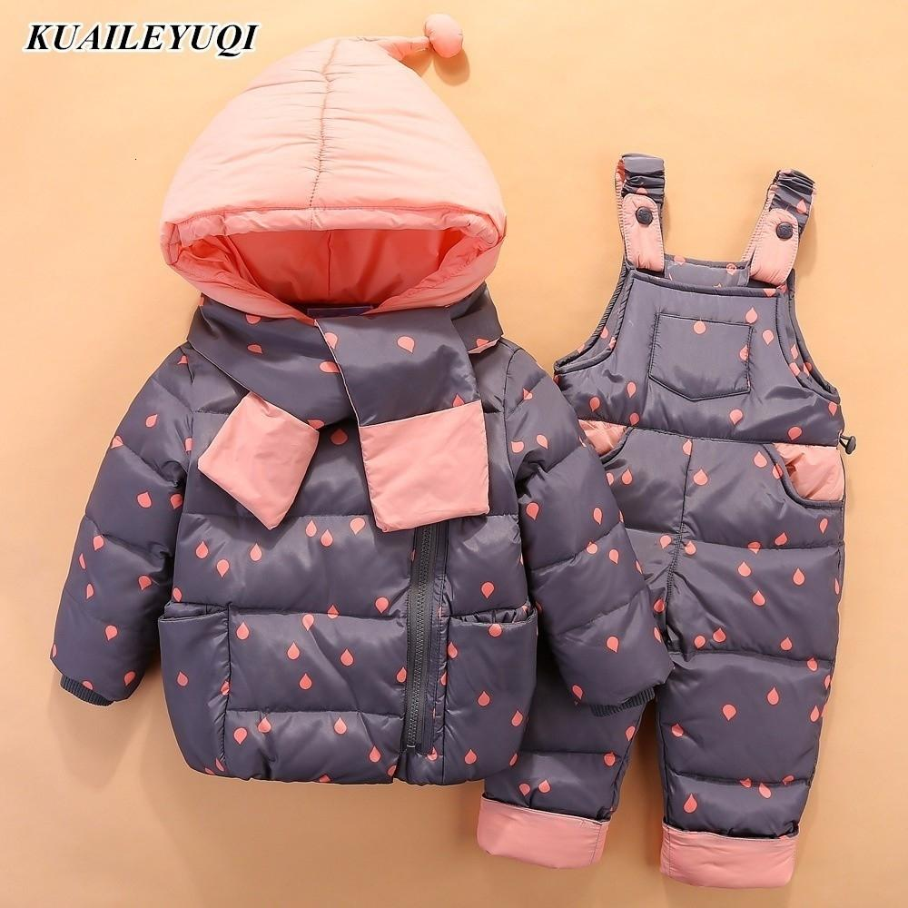 2019 Kinder unten Kleidung Sets 2 PCS Mantel + Hosen Winter-Kindkleidung Daunenjacke Anzüge Junge Mädchen mit Kapuze Oberbekleidung SuitMX190916