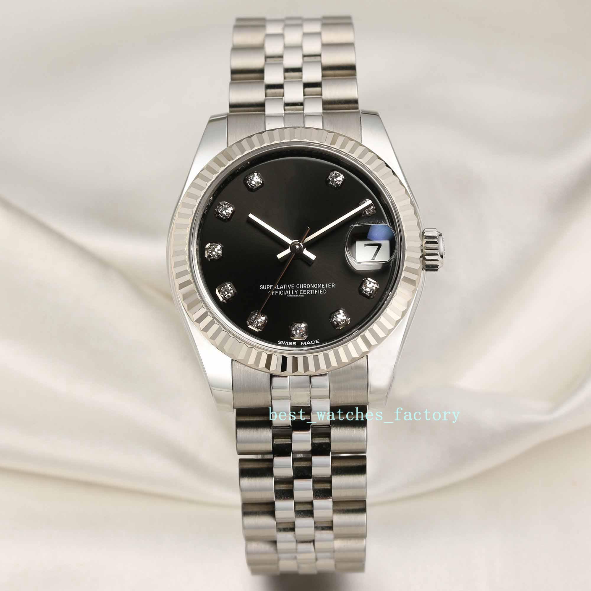 relógio feminino de alta qualidade Asian 2813 31 milímetros de aço anel de ouro branco dente rótulo diamante cara preta 178274 aço inoxidável Natal automática