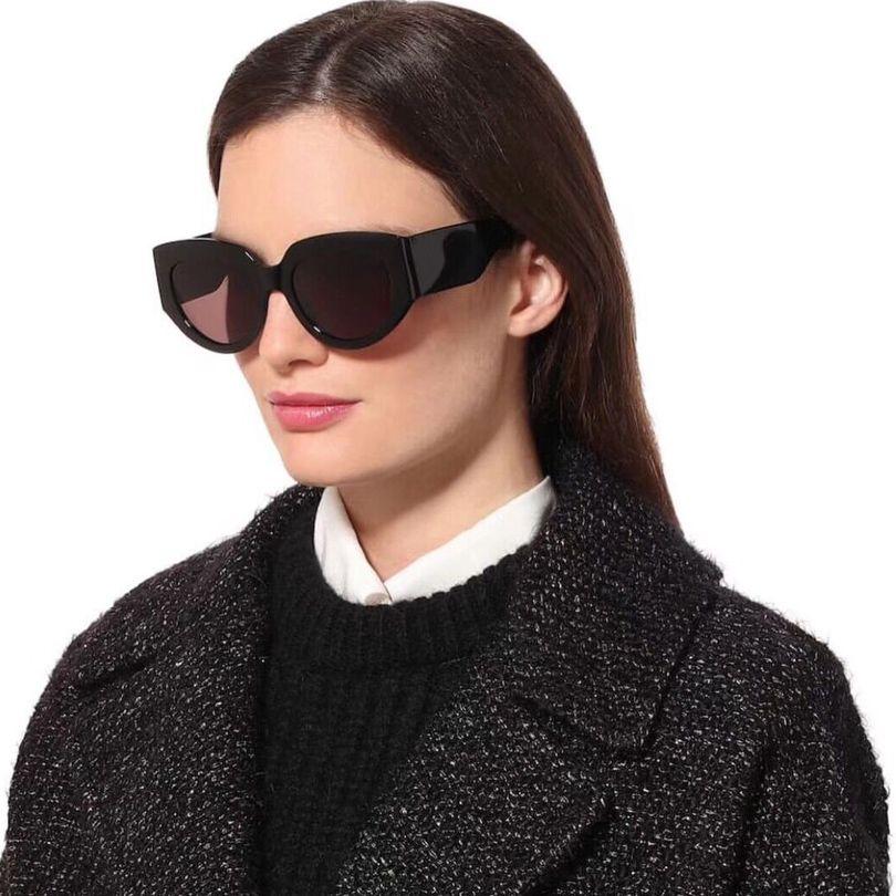 Top quality Brand Women Sunglasses Black cat eye frame men sunglasses gradient lens fashion grey lens women eye wear with original box