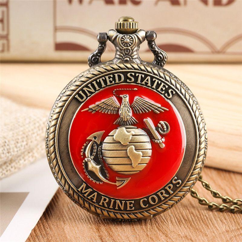 Vintage United State Marine Corps Theme Quartz Bolso Relógio Moda Red Lembrança Lembrança Pingente Cadeia Militar Relógios Top Presentes