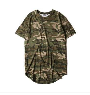 Hi-street tinta unita solido t-shirt da uomo longline estesa camouflage hip hop magliette urbano kpop tee shirt abbigliamento maschile 6 colori