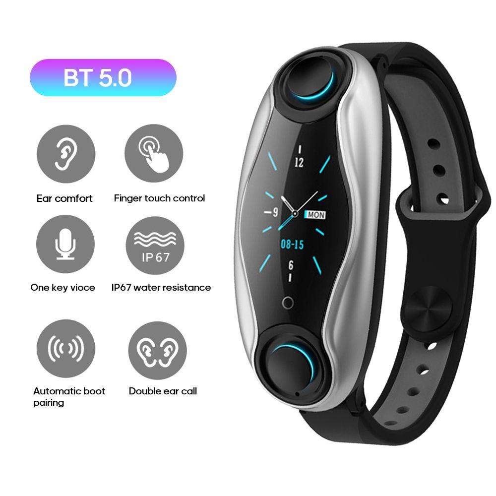 2 em 1 Pulseira de Fitness Bluetooth 5.0 com Wireless fones IP67 impermeável Sport relógio inteligente Relógio para o IOS Android smartwatch Telefone