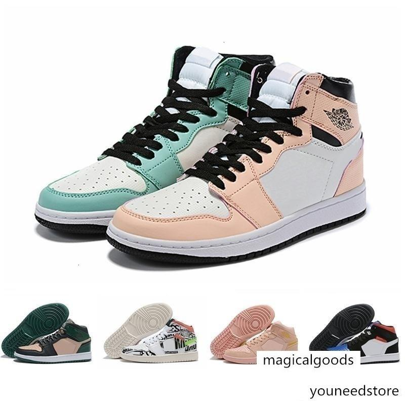 Ретро Женщины Мужчины малыша 1S мальчик GS Середина Баскетбол обувь Черный Toe Что All Over Jumpman Логотипы мандаринка Спорт Sneaker Размер 4Y-Men US11