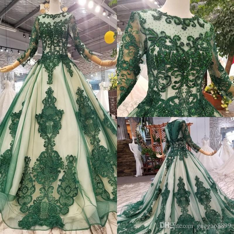 Zuhair Murad 2020 vert Robes de soirée Jewel dentelle perles de bal Robes appliques manches longues à lacets Retour Sweep Trian Special Occasion Dress