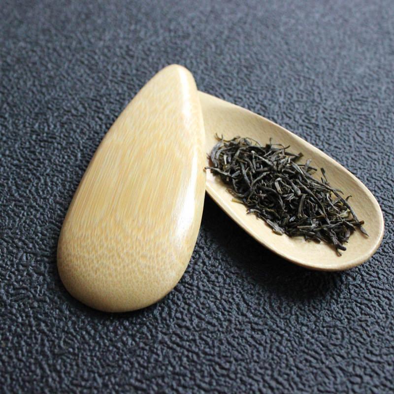 Sevimli Kavun tohumu şekli El yapımı Mini Bambu Çay Scoops Kung Fu Çay Kaşık Siyah Yeşil Çay Kürek Hediye 1PC Promosyon Damla şeklindeki