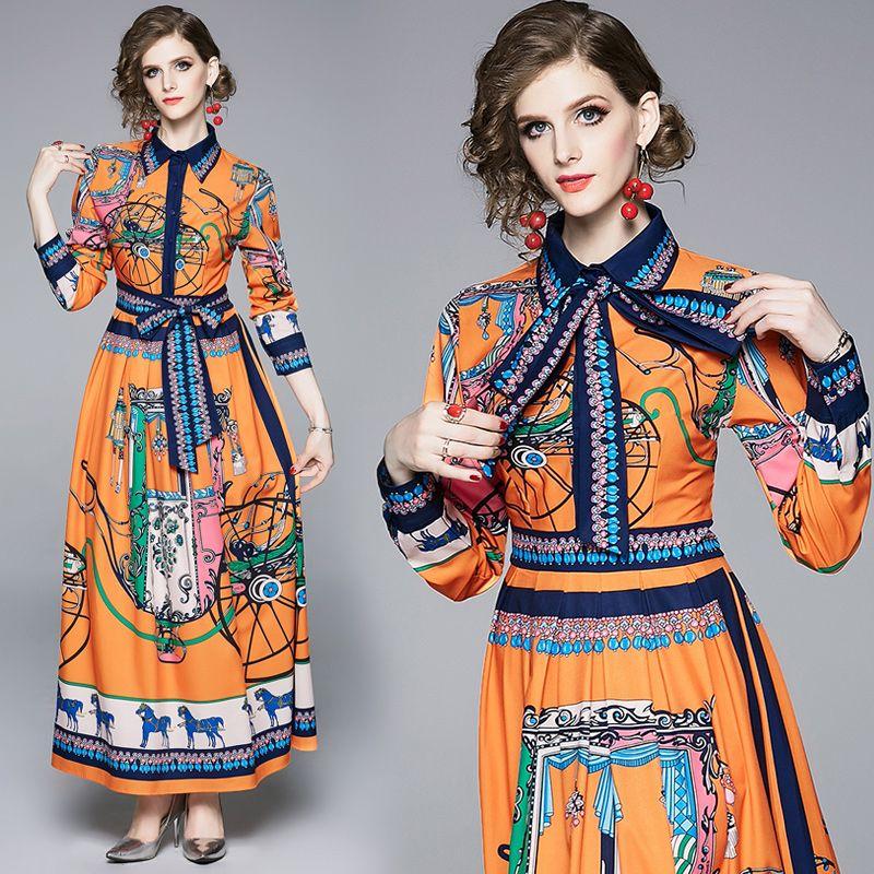 Vestidos de noite New desfile de moda Impresso cintura império vestido de camisa Botão elegante Bow Feminina Frente lapela pescoço Office Lady Sexy Magro partido