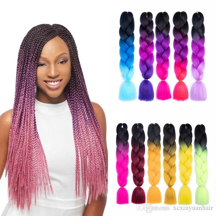 Wholesale Price Ombre Synthetic Kanekalon Braiding Hair For Crochet Braids False Hair Extensions Ombre Jumbo Braiding