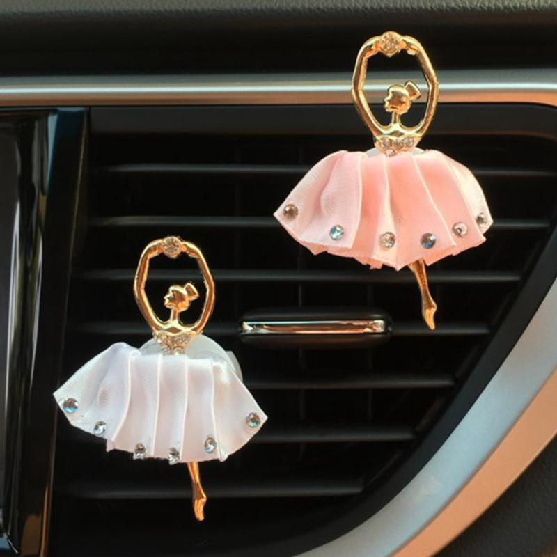 1Pc Car Air Vent Perfume Car Styling Auto Decors Diamond Ballet Girl Auto Outlet Air Freshener Solid Fragrance weijin