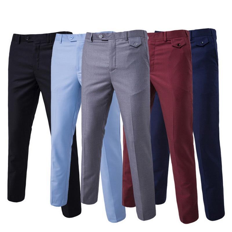 Vestido formal Pant Homens Plano Magro Homem de negócio terninho Verão finas Calças Escritório ocasional Sólidos Pantalon Costume Homme