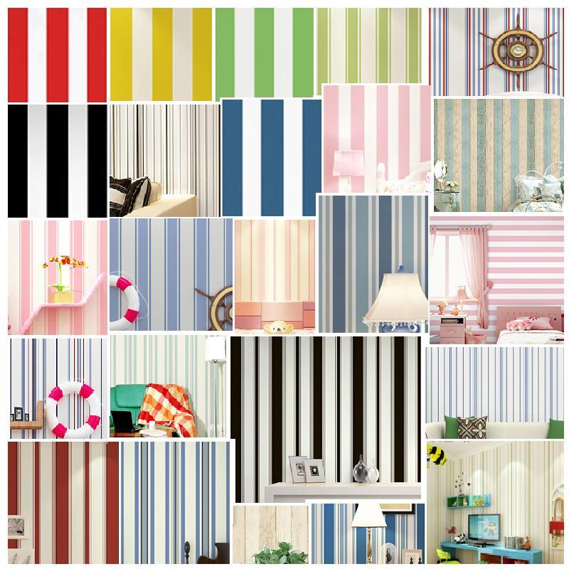 현대적인 까만 백색 수직 스트라이프 배경 지중해 파란색 배경 화면 녹색 빨간색 노란색 분홍색 여자 아이들의 침실