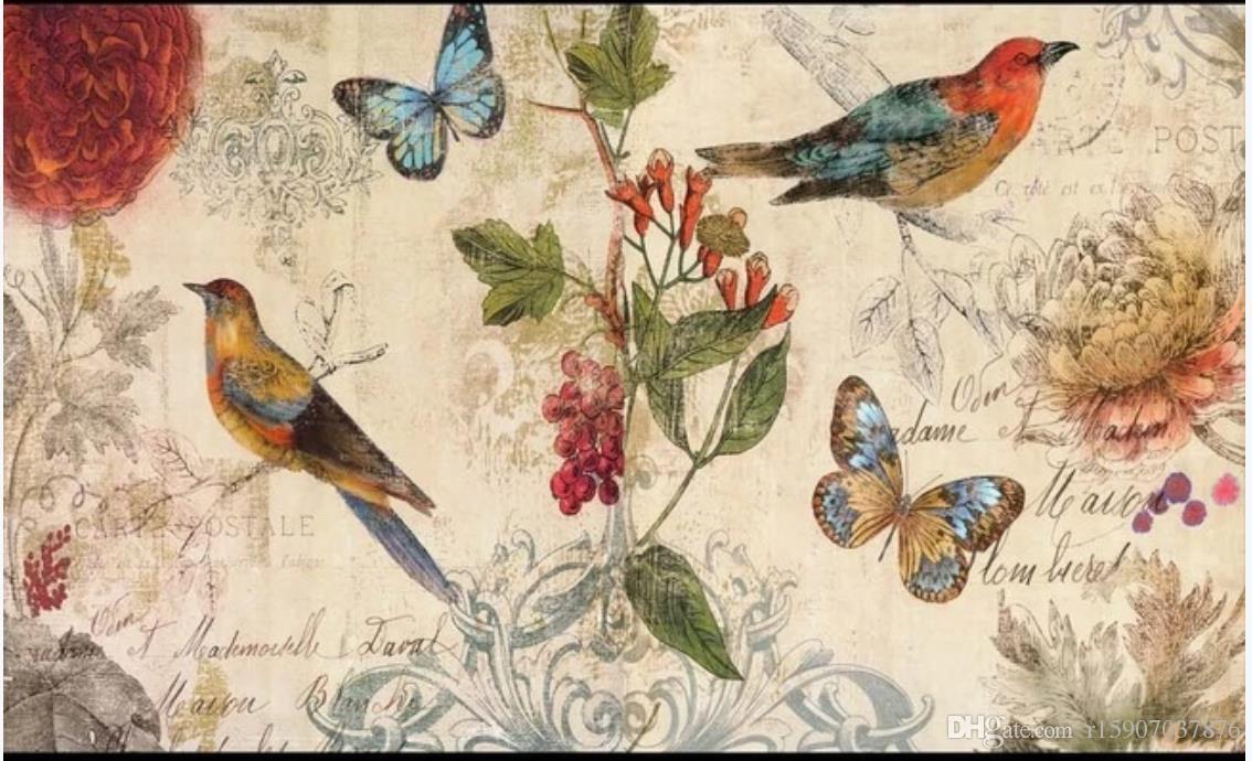 Carta da parati personalizzata Photo Per Walls 3D murale sfondi Bella filiale europea uccello olio dipinto a mano pittura sfondo pittura decorativa