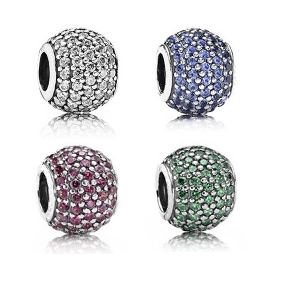 봄 컬렉션 925 스털링 실버 클리어 CZ 비즈 매력 팔찌 목걸이에 맞게 DIY Jewelry pendants jewelry making