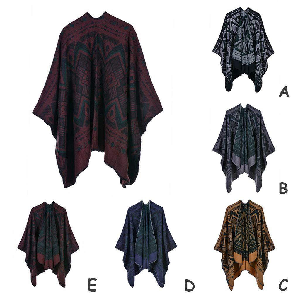 Unisex suave de la vendimia del abrigo del mantón de la bufanda de las mujeres de los hombres de moda larga de poliéster manta caliente Pañuelos Pañuelo Beach Winter Party de la estola del poncho del cabo
