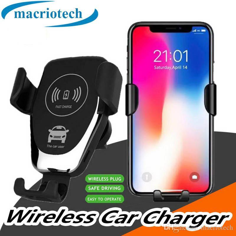 C12 10W Funk-Kfz-Ladegerät stehen Qi Fast Charger Car Mount Air Vent-Telefon-Halter für iPhone Samsung Alle Qi-Geräte mit Kleinkasten