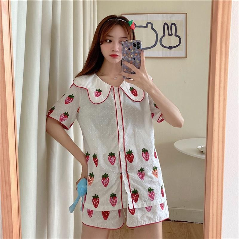 Doux doux Girly Cute Girl Costume Survêtement Cartoon Imprimé Pyjama Home Service 2020 Summer Sailor Collier Femme Vêtements Femme