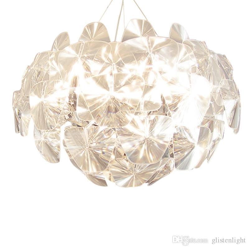 Feuilles Transparent créatif en acrylique Laser Lampe suspendue Lampe suspension simple Originalité moderne Lampe suspendue Éclairage