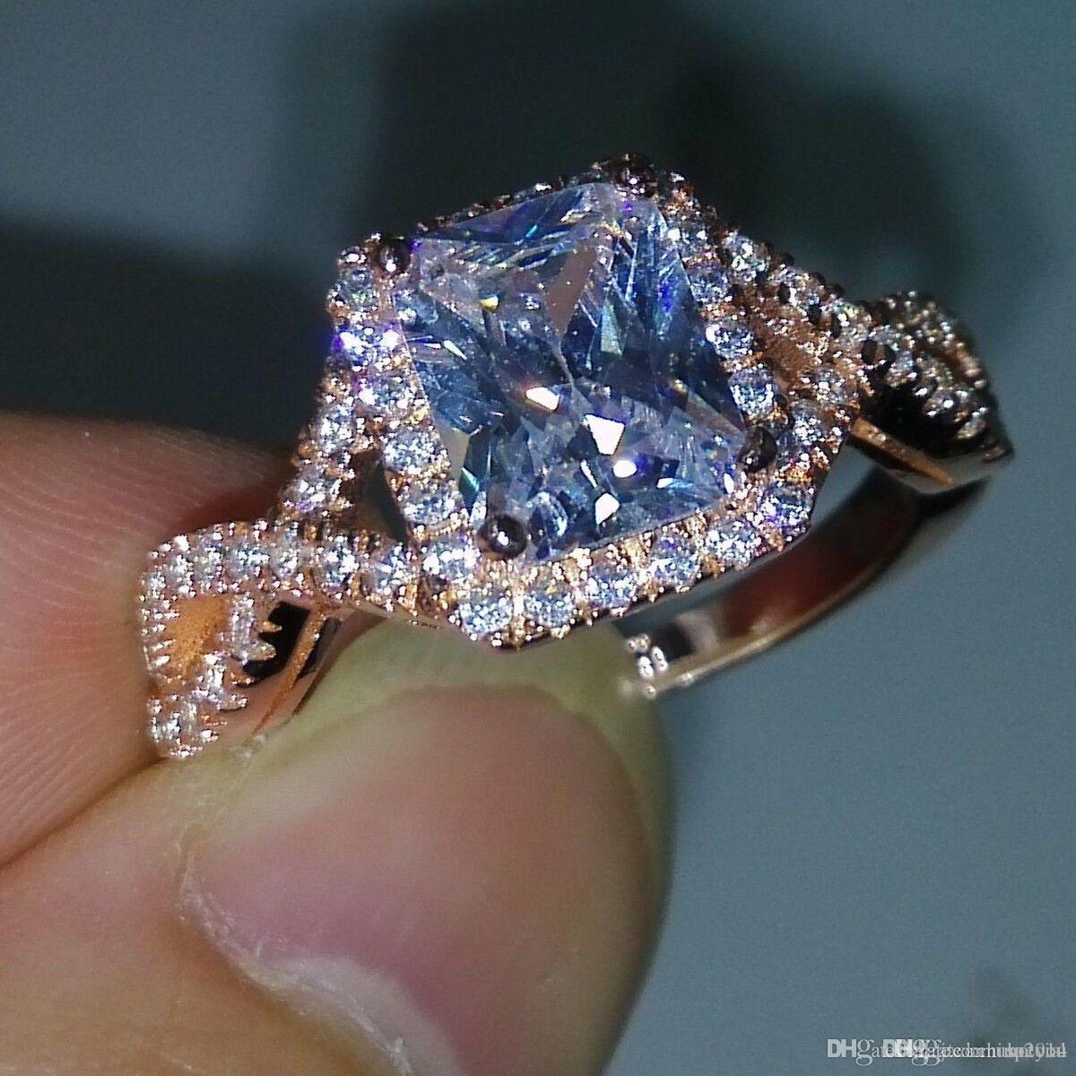 Jóias de luxo Atacado 925 Sterling Silver Rose banhado a ouro Princess White Topaz CZ diamante casamento Engagment Mulheres banda anel tamanho 5-11