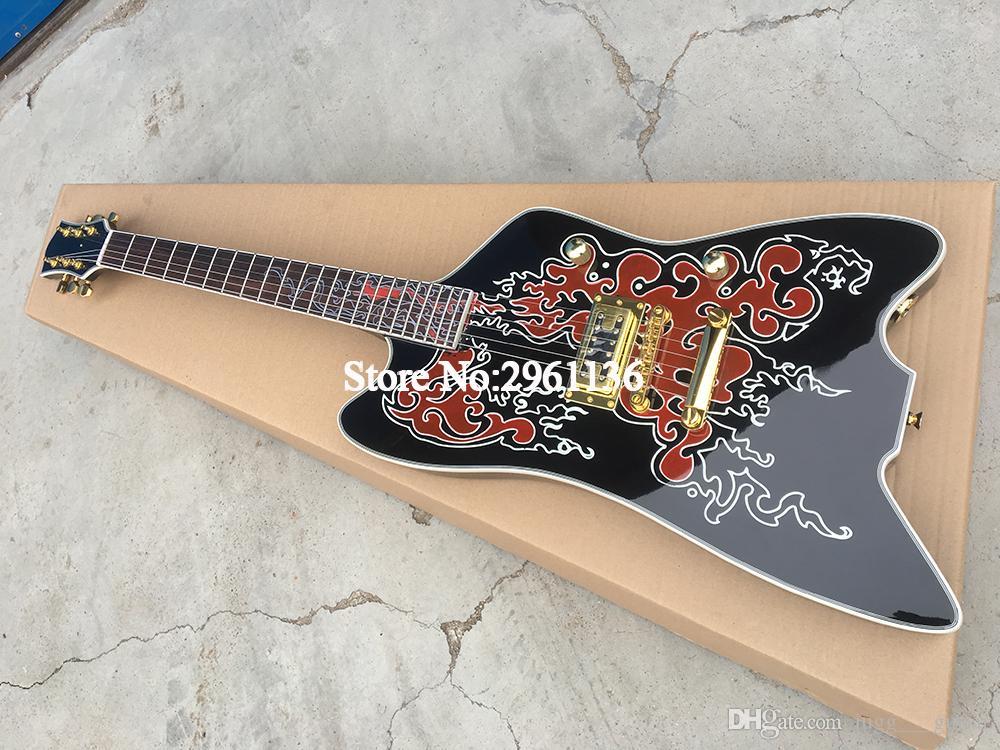 6199 Billy Bo Jupiter 블랙 스트라이프 썬더 버드 일렉트릭 기타 라운드 입력 잭, TV JONE 브리지 픽업, 랩 arround 테일 피스, 골드 하드웨어