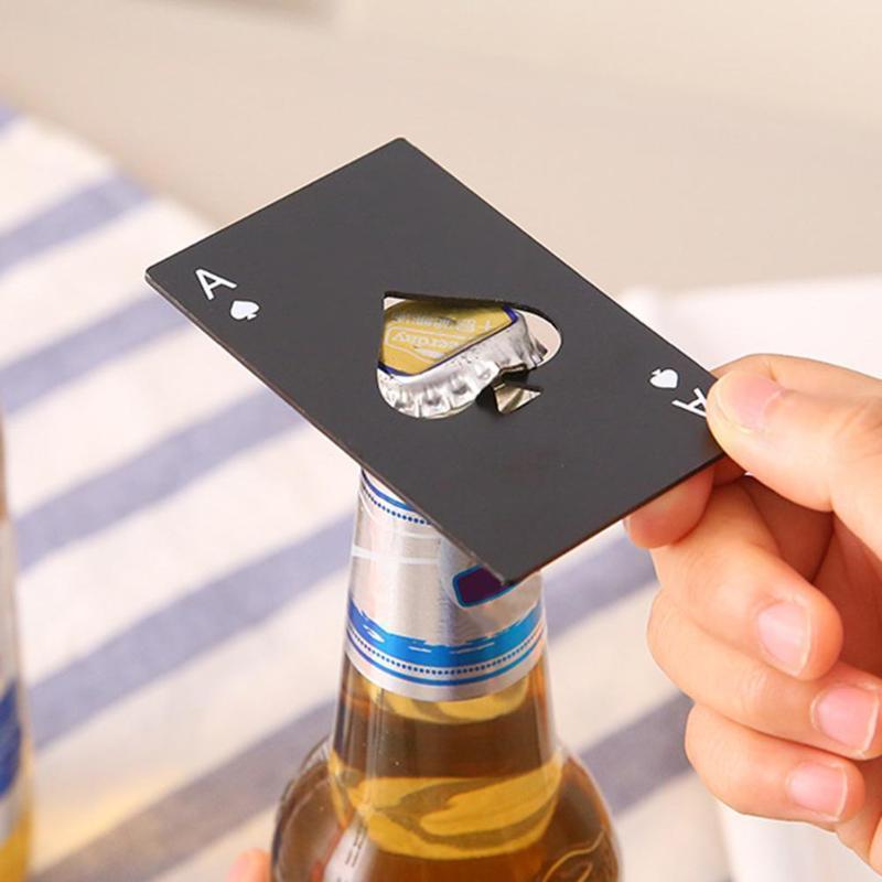 Noir / Silver Carte de poker ouvre-bouteille de bière Ouvre-bouteille d'ouverture de bouteille de carte de crédit en acier inoxydable personnalisé Carte d'ouverture de la barre de pique