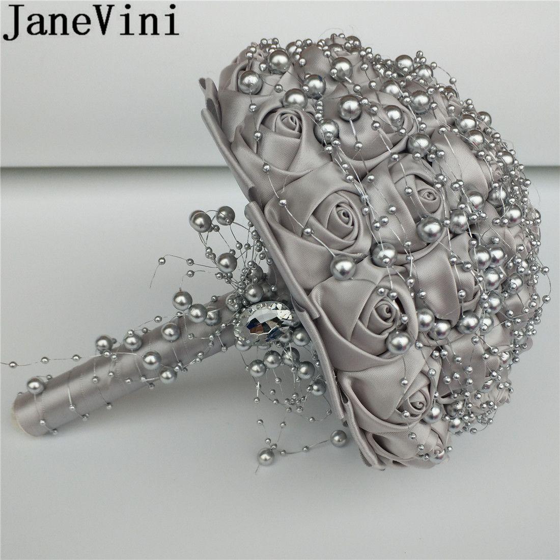 janevini 2019 silver wedding bouquets bridal with pearls ribbon rose royal  blue bridesmaid flower bouquet custom satin brooch graduation flower