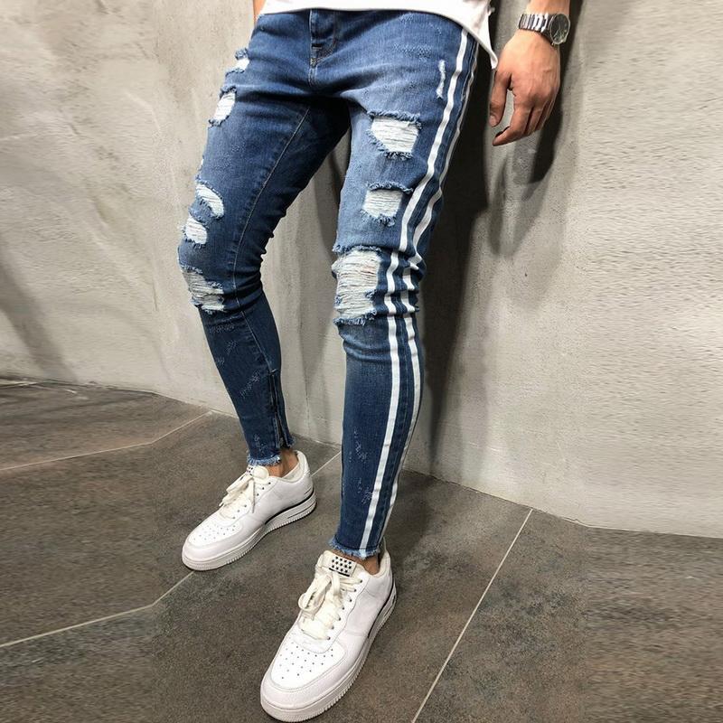 OLOME Sıcak Satış 2019 Yırtık Yan Çizgili Kot Moda Mavi Streetwear Erkek Sıska Streç Kot Pantolon Rahat Kot Hombre