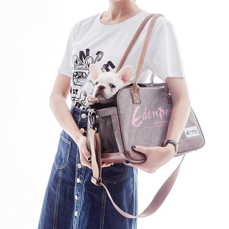 Environmental Linen Dog Carrier Bags For Small Dogs Little Small Animal Pet Carrying Shoulder Tote Outdoor Cat Travel Handback